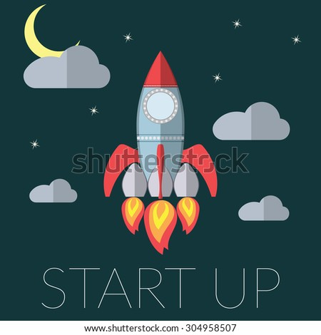Flat design modern illustration of a rocket concept for new business project startup, launching new innovation product, creative start on market raster - stock photo