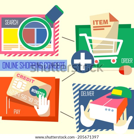 flat design of online shopping process with search, order, pay and deliver - stock photo
