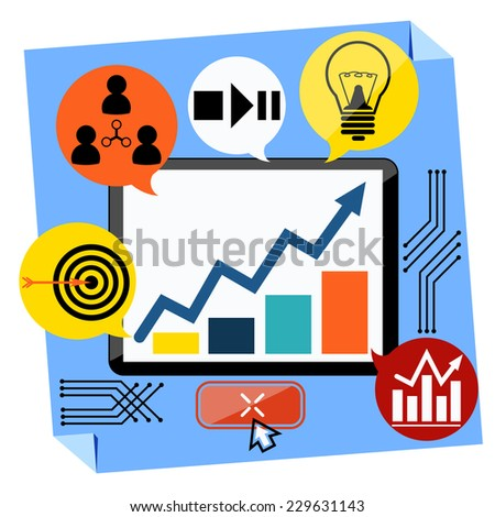 Flat design of presentation business development concept from good idea to successful startup. Monitor with chart graph. Raster version - stock photo