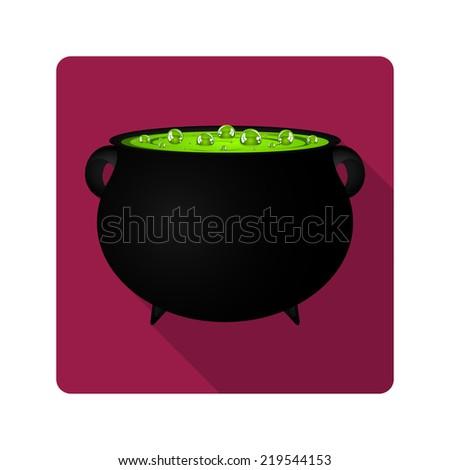 Flat design. potion in a cauldron on halloween - stock photo