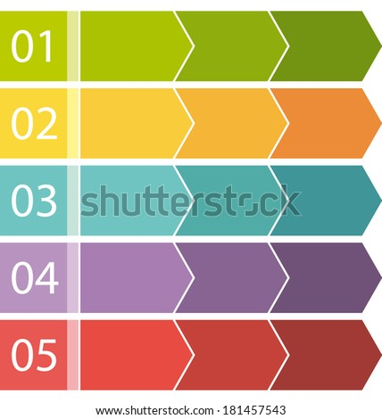 Flat design. Process arrows boxes set. Step by step. - stock photo