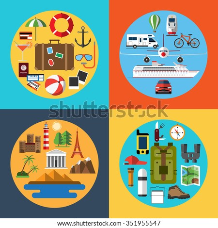Flat design style icons set of traveling, tourism, hiking. Holidays and vacation. Travel equipment and transport. Tourist attractions. Passenger luggage. Rasterized copy - stock photo