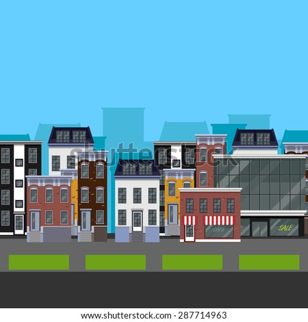 Flat design urban landscape. illustration of a street with different buildings - stock photo
