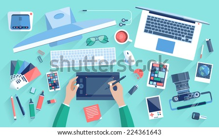 Flat design vector illustration of modern creative office workspace, workplace of a designer. The office of a creative worker. Flat minimalistic style and color with long shadows for Web & Mobile App - stock photo
