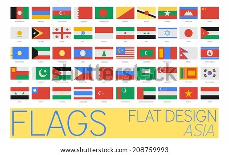 Flat Flags Asia 2014 - stock photo