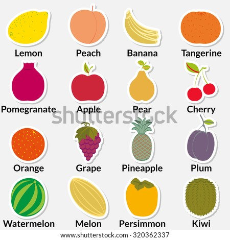 Flat fruit icons gathered in a circle inscribed with names. Rasterized version. - stock photo