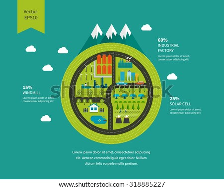 Flat green energy, ecology, eco, clean planet, urban landscape and industrial factory buildings concept icon banners template set. Infographic energy template design - stock photo