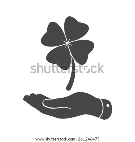 flat hand showing clover with four leaves sign icon on a white background. Saint Patrick symbol - stock photo