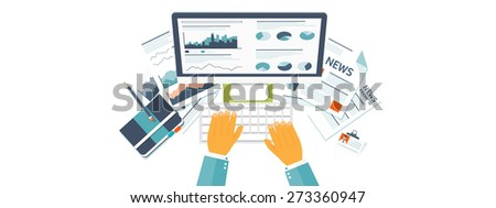Flat header.  Market news, money making. Business and smart solutions. - stock photo