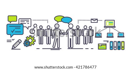 Flat icon concept of business partnership. Partner and teamwork, team people, cooperation and contract, deal handshake, professional corporate agreement illustration. Partner thin line ouyline icons - stock photo