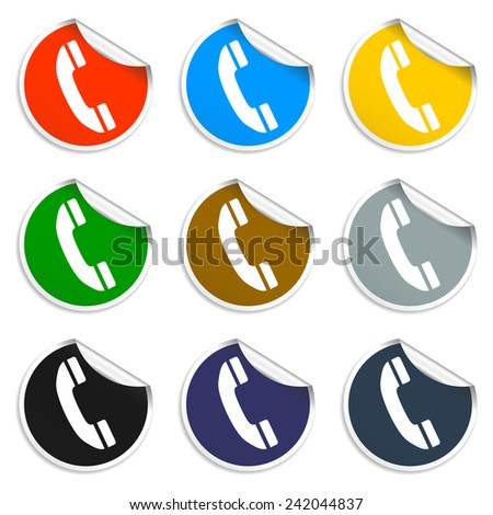 Flat icon of a phone.  - stock photo