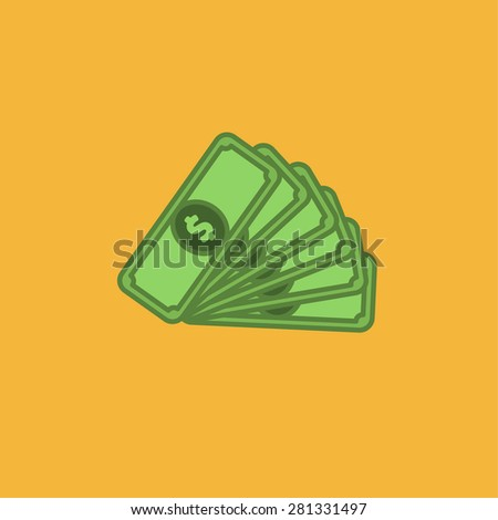 Flat icon of money - stock photo