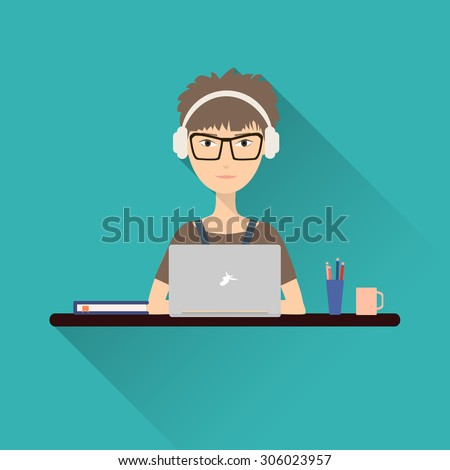 Flat icon woman. Woman working at a laptop with headphones sitting at her desk. Stock vector. - stock photo