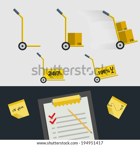 Flat icons for delivery of goods. Set of icons for delivery. Yellow hand-trucks with boxes on white background and clipboard with marks on black background. - stock photo