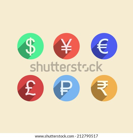 Flat icons for moneymaker. Set of colored circle icons with currency signs for moneymaker on white background. - stock photo