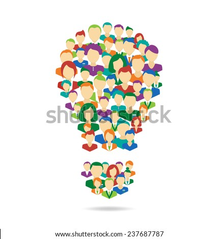 Flat Idea lamp symbolize crowdsourcing process isolated on white background - stock photo