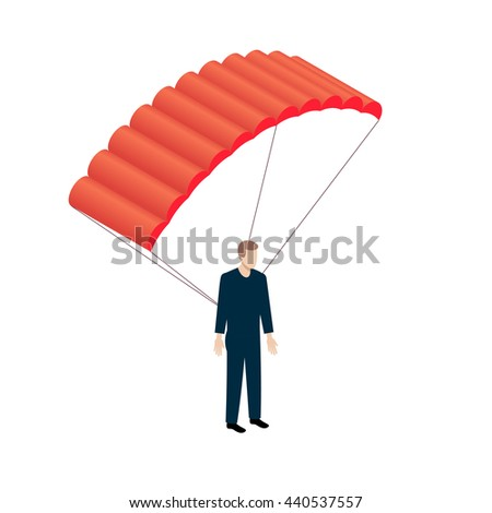 Flat Isometric Parachutist icon. Parachutism sifn - stock photo