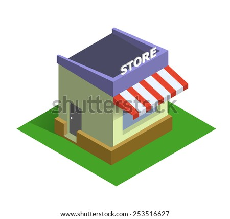 Flat isometric store logo, isolated vector icon, online shopping and e-commerce concept web market - stock photo