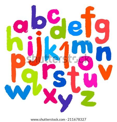 Flat Kid Alphabet, Isolated on Wight. illustration - stock photo