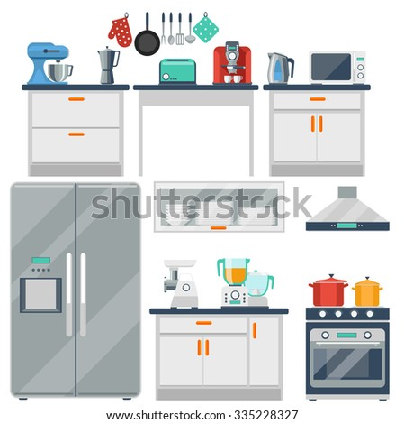 Flat kitchen - stock photo