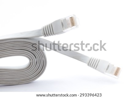 Flat LAN cable, CAT5E with RJ45 head for computer network connecting isolate on white background. - stock photo