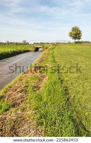 Flat landscape with a ditch and pasture immediately after mowing the grass. - stock photo