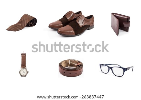 Flat lay shot of Men fashion. Men accessories. Men shoes, tie, wallet, belt, eyeglasses and watch. Still life. Business look. - stock photo