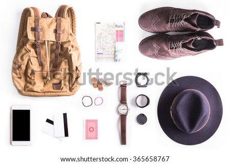 Flat lay shot of Traveler style guide. Man accessories. Still life - stock photo
