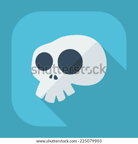 Flat modern design with shadow icons for web design and mobile applications, SEO. search Engine Optimization: skull - stock photo