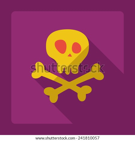 Flat modern design with shadow skull and crossbones - stock photo