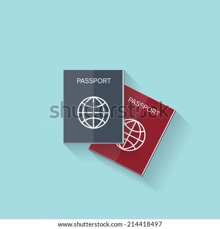 Flat passport web icon - stock photo