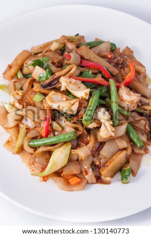 flat rice noodle stir fried withseafood. - stock photo