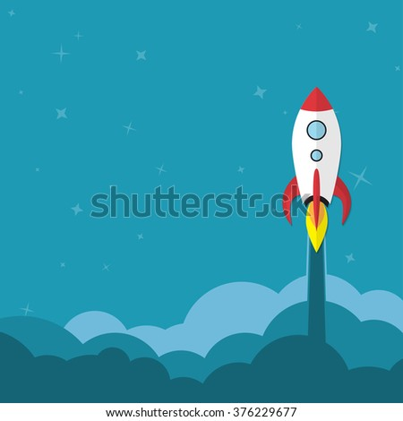 Flat rocket web icon. Start up concept. - stock photo
