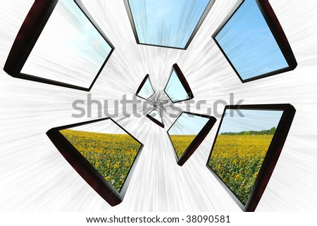 flat screen speeding towards the center of the image - stock photo