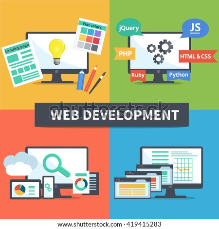 Flat set of concept web development elements. Stages of web development. Icons for web design, application development,web programming, seo, testing.  - stock photo
