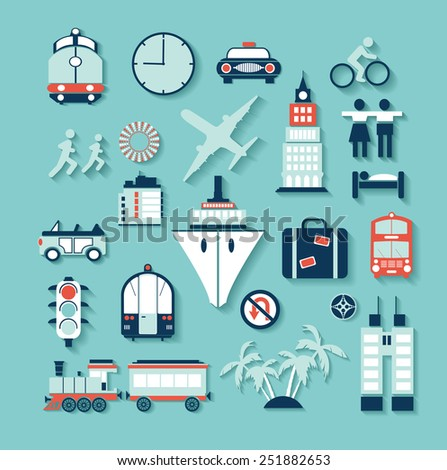 Flat set of elements for design and creation of websites - stock photo