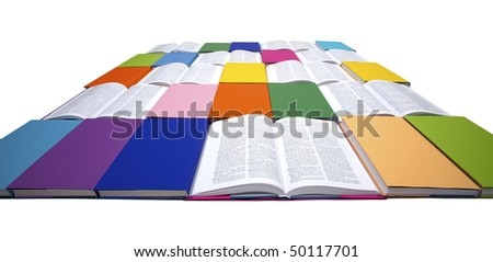 Flat squared arrangement of in rainbow colors paper wrapped books and open books isolated on white background, view from front-top, PHOTOGRAPH, NOT 3D RENDER. - stock photo