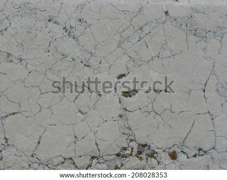 Flat stone texture in light grey tone with myriads of cracks and some moss on surface. - stock photo
