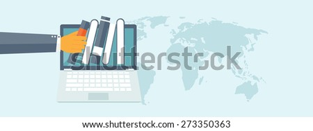 Flat study background. Education and online courses, web tutorials, e-learning. Study and creative process. Power of knowledge. Video tutorials. - stock photo