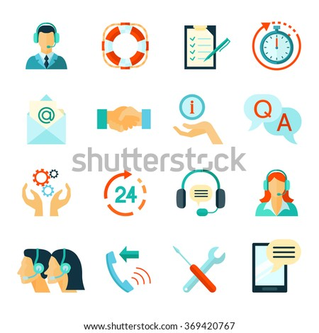 Flat Style Color Icons Of Customer Support - stock photo