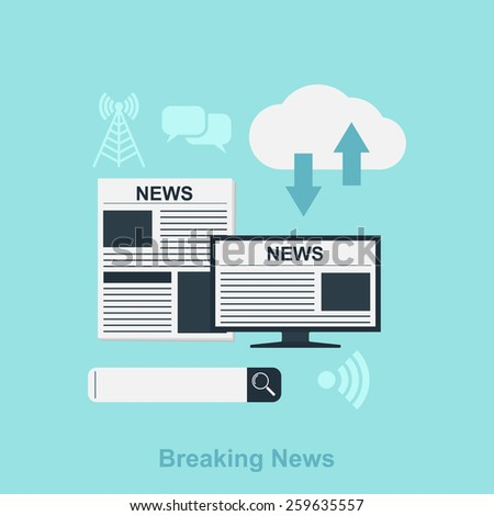 flat style illustration for news concept with icons, newspaper, computer, search bar, cloud - stock photo