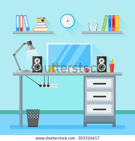 Flat style illustration of a modern workplace in room. Home workspace with objects, equipment - stock photo