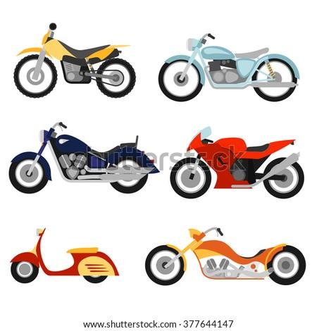 Flat style motorcycles set - stock photo
