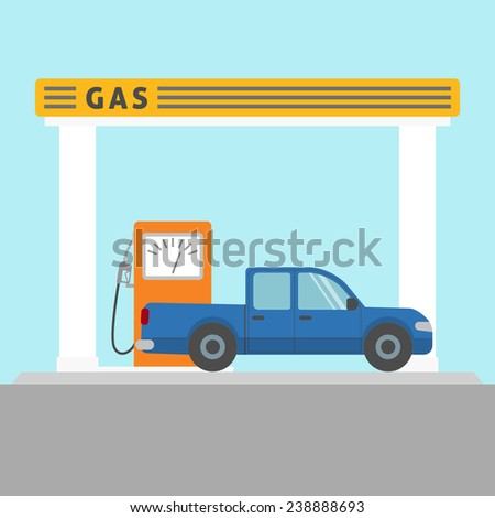 Flat style pickup car at the gas station - stock photo
