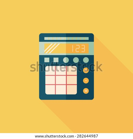 Flat style with long shadows, weight scale icon illustration. - stock photo