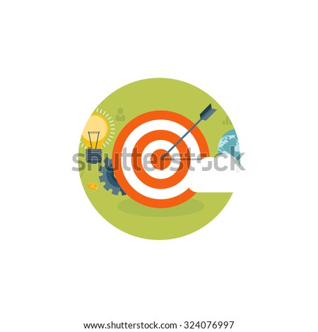 Flat target. Business aims. Smart solutions. - stock photo
