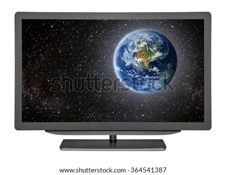 flat television on the white backgrounds. Elements of this image furnished by NASA - stock photo
