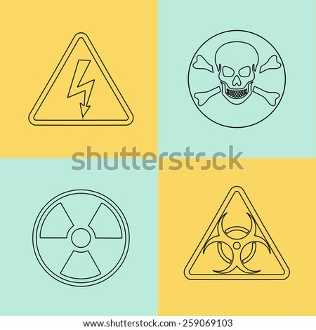 Flat thin line warning signs, symbols. Danger, poison, skull crossbones, biohazard, electricity high voltage, chemical waste, radioactive, toxic alert caution icon set - stock photo