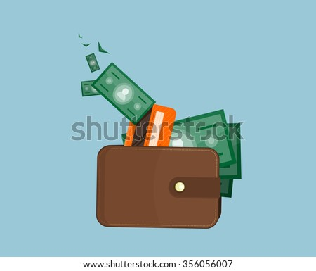 Flat wallet card and cash. Leather wallet with dollars, credit cards. Leather purse banknotes. Brown wallet. Full wallet. Purse money. Wallet filled up with money and plastic cards. Raster version - stock photo