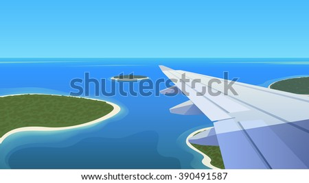 Flat web banner on the theme of travel by airplane, vacation, adventure. Airplane is landing in a tropical Paradise. Transport, transportation, travel. Modern flat design. - stock photo